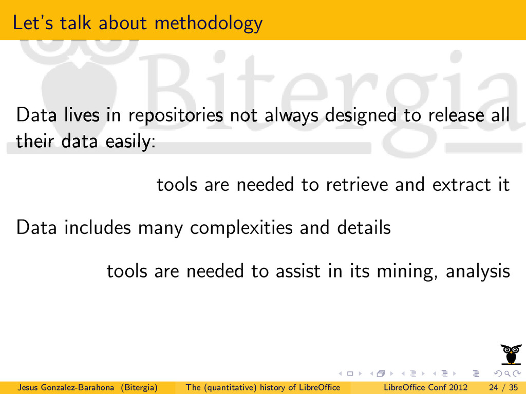 Let's talk about methodology Data lives in repo...