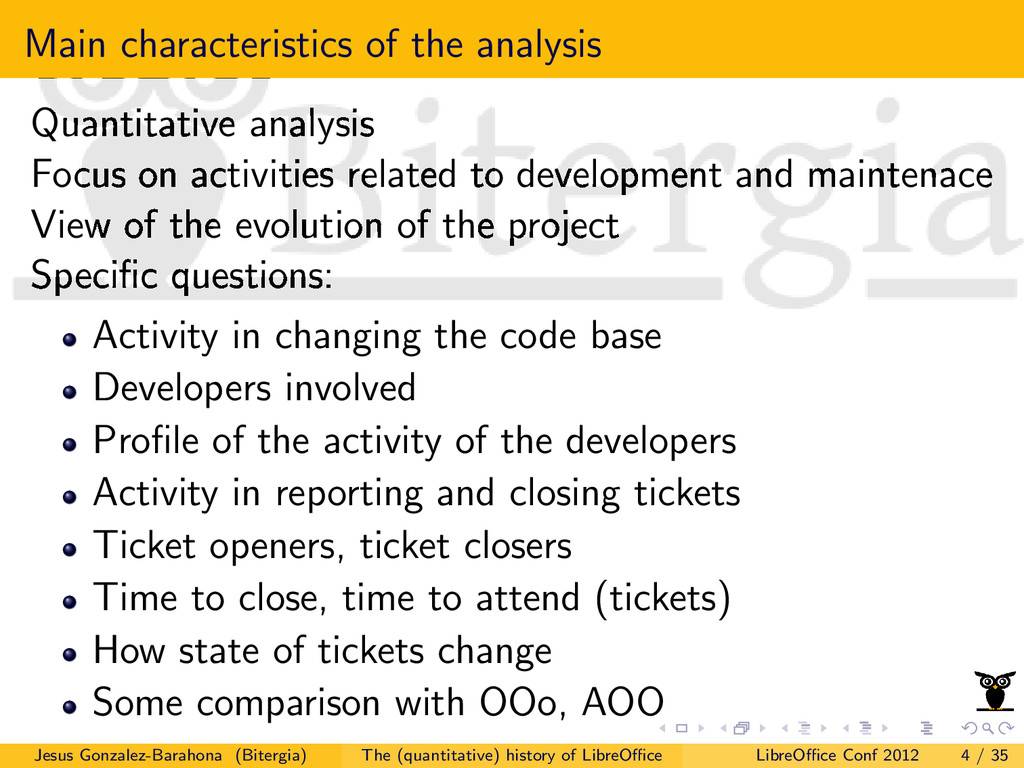 Main characteristics of the analysis Quantitati...