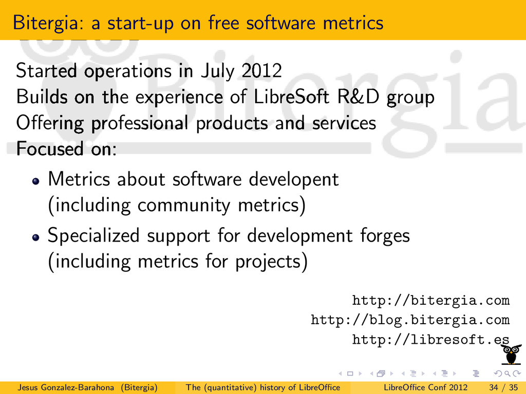Bitergia: a start-up on free software metrics S...