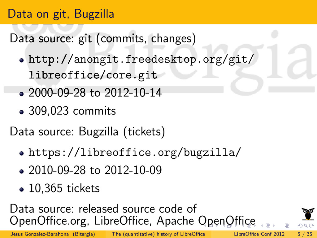 Data on git, Bugzilla Data source: git (commits...