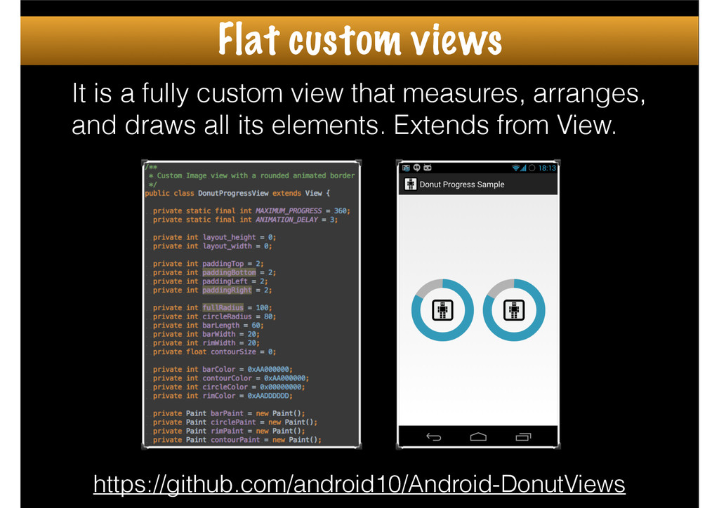 It is a fully custom view that measures, arrang...