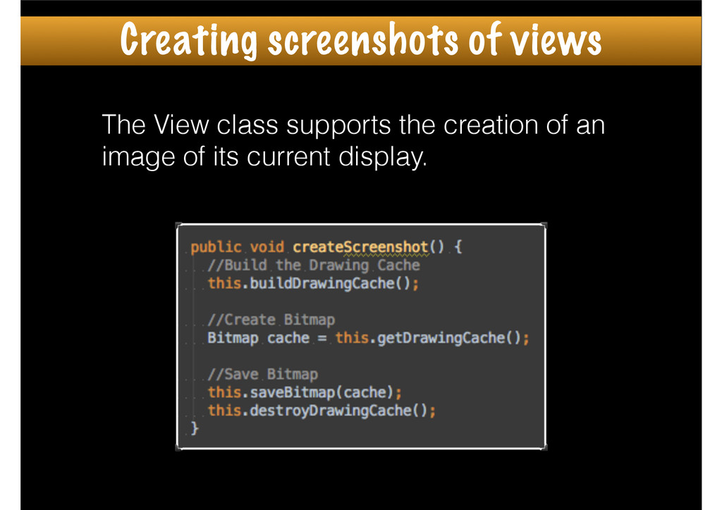 The View class supports the creation of an imag...
