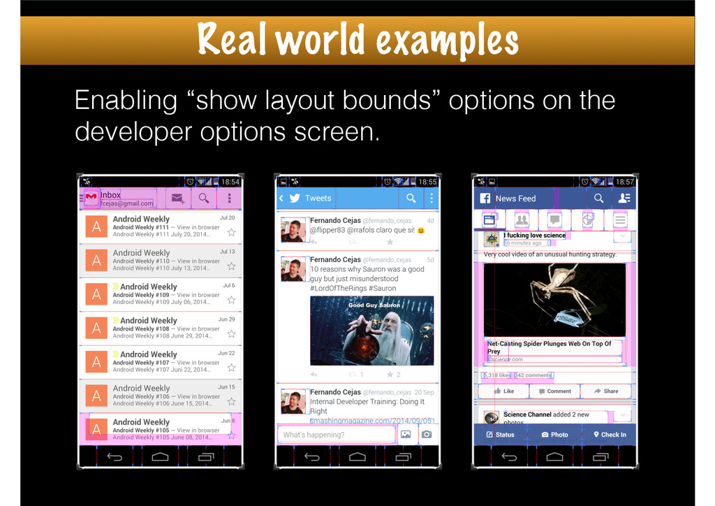 """Enabling """"show layout bounds"""" options on the de..."""