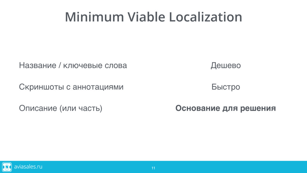 11 Minimum Viable Localization Название / ключе...