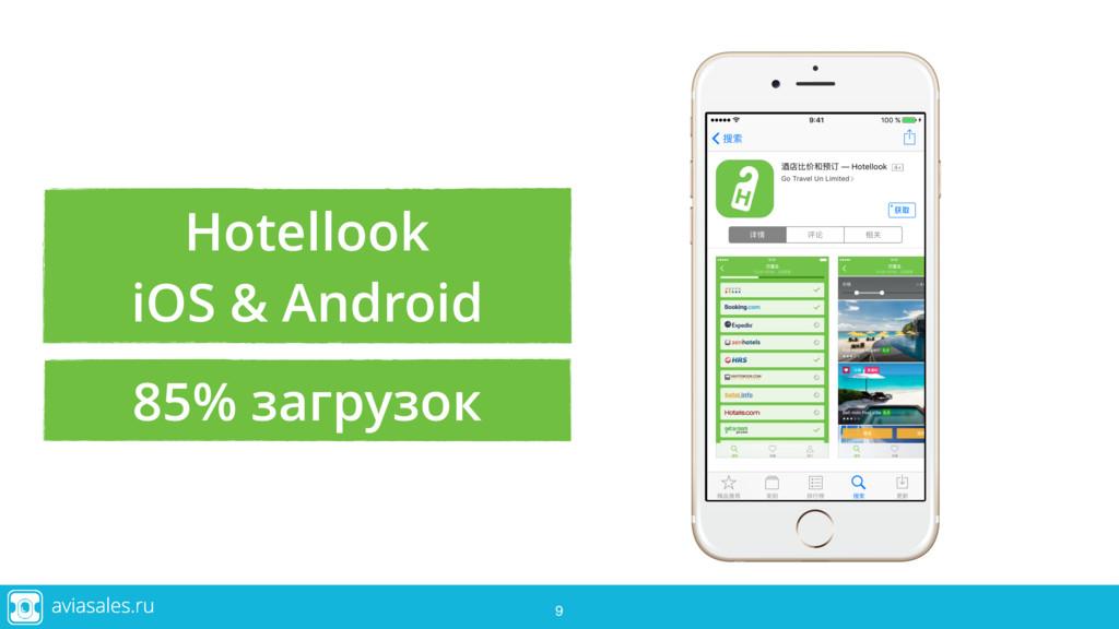 9 9 Hotellook iOS & Android 9 85% загрузок