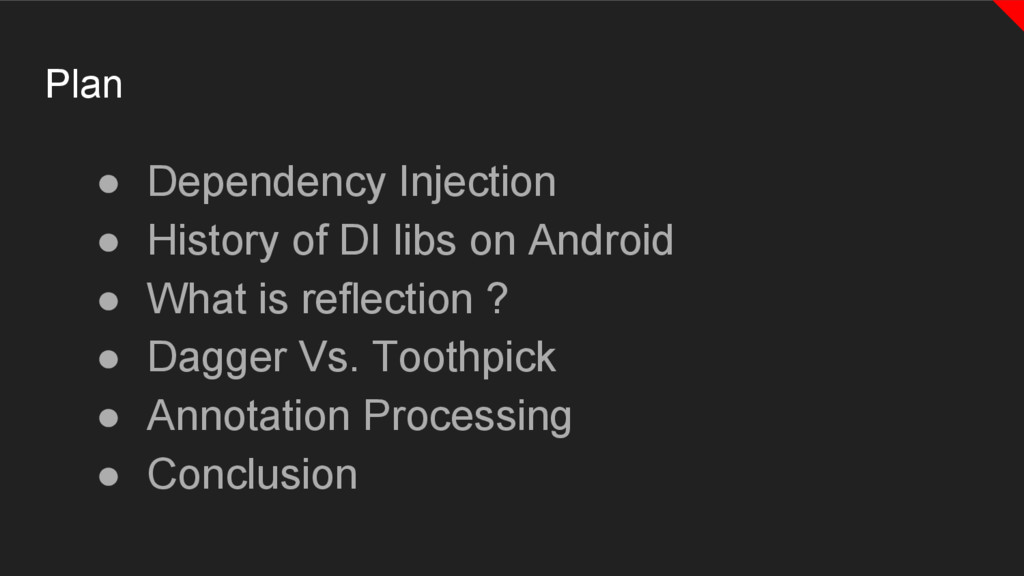 ● Dependency Injection ● History of DI libs on ...