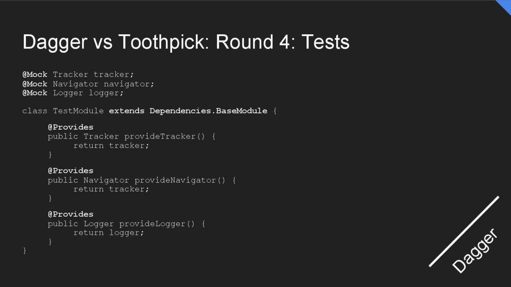 Dagger vs Toothpick: Round 4: Tests @Mock Track...