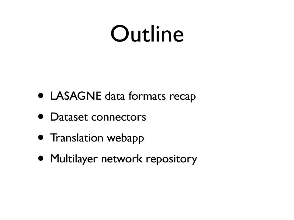 Outline • LASAGNE data formats recap • Dataset ...