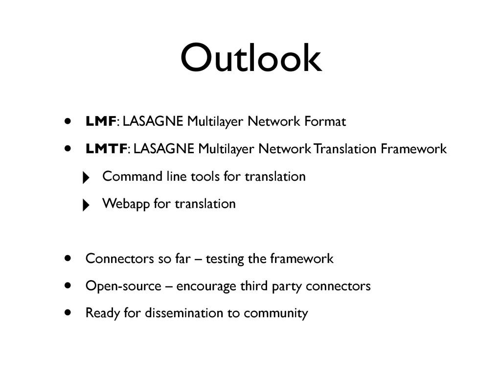 Outlook • LMF: LASAGNE Multilayer Network Forma...