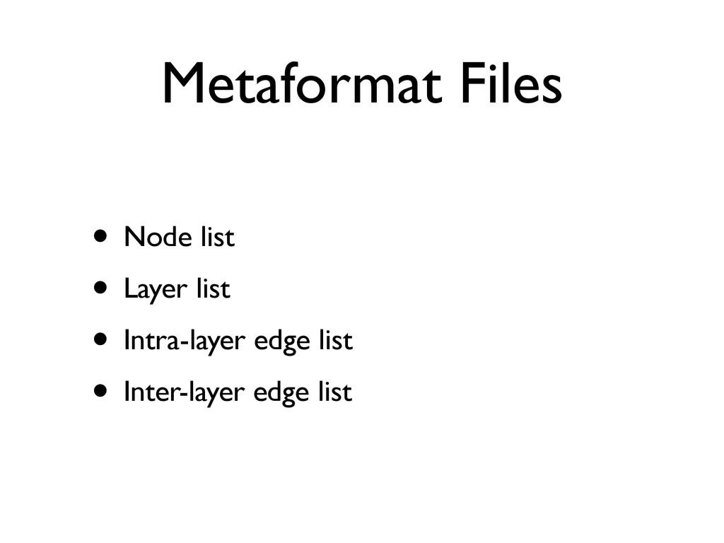Metaformat Files • Node list • Layer list • Int...