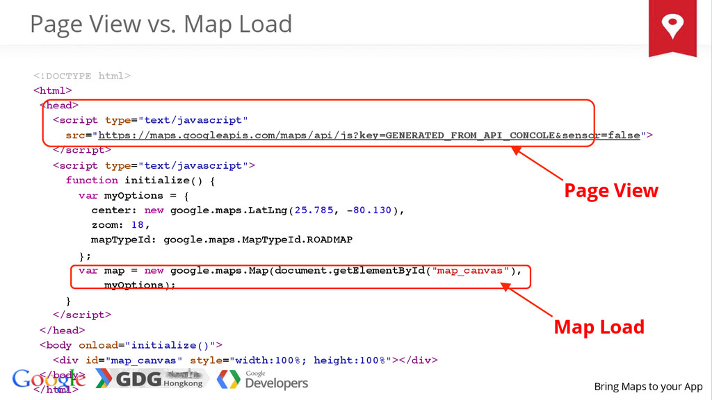 Bring Maps to your App <!DOCTYPE html>! <html>!...