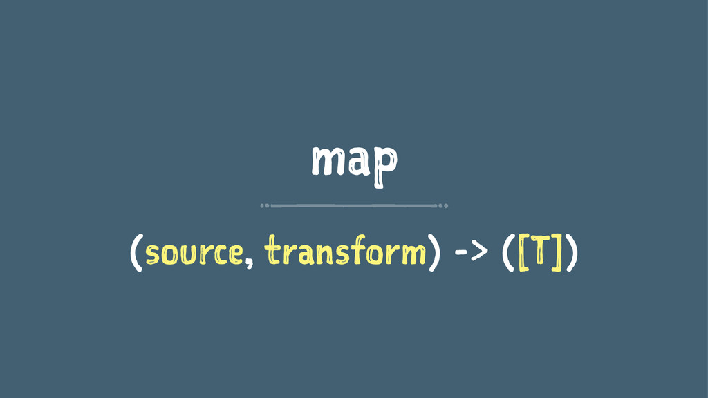 map (source, transform) -> ([T])