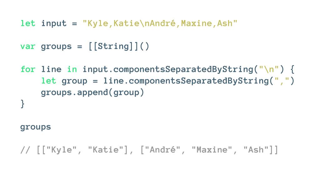 """let input = """"Kyle,Katie\nAndré,Maxine,Ash"""" var ..."""