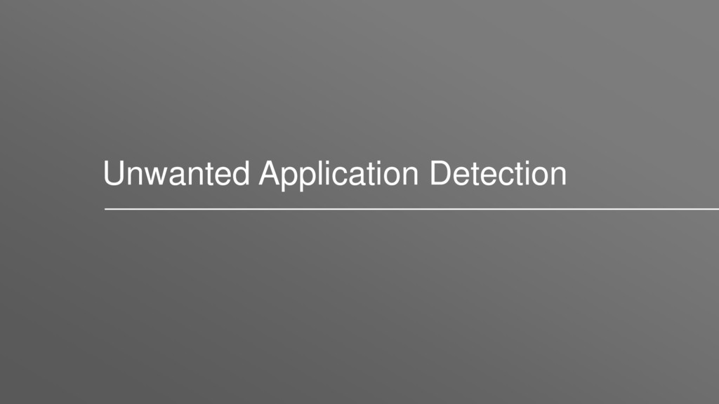 Unwanted Application Detection
