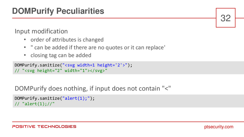 ptsecurity.com DOMPurify Peculiarities 32 Input...