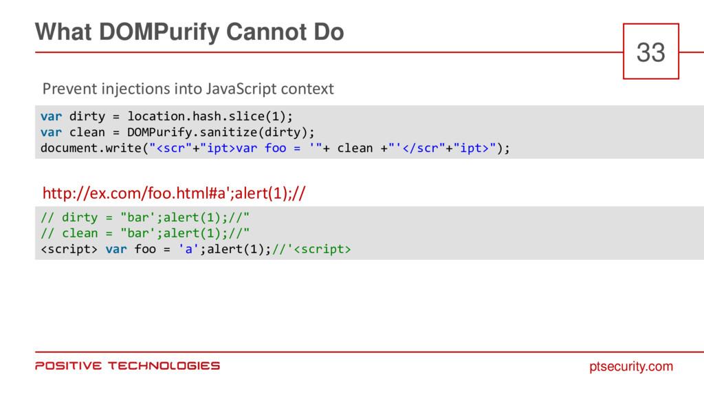 ptsecurity.com What DOMPurify Cannot Do 33 Prev...
