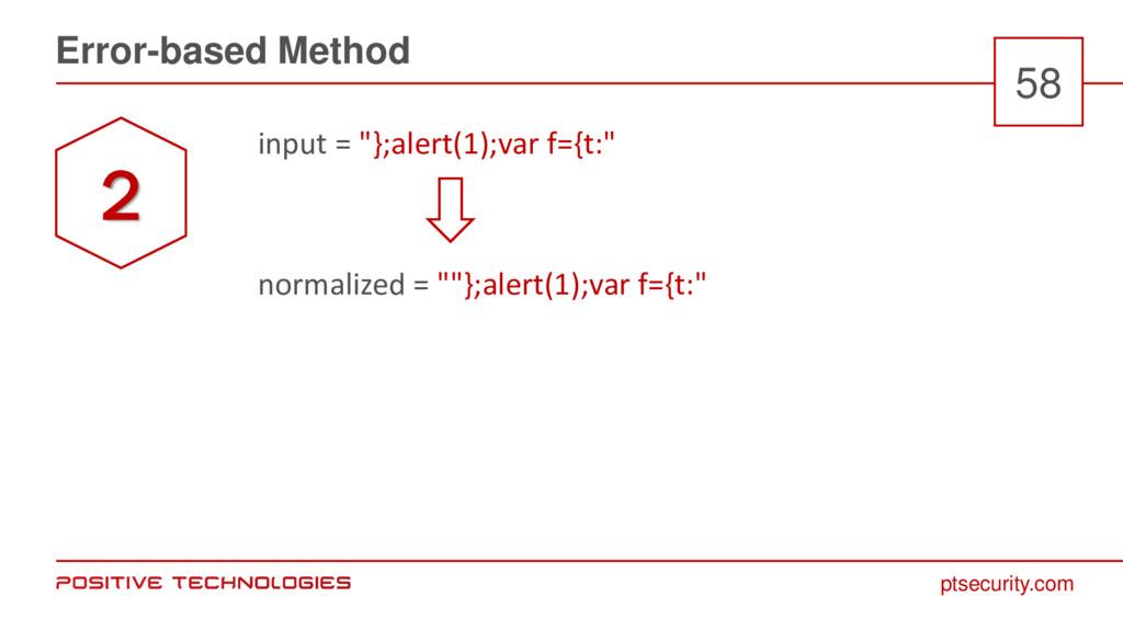"""ptsecurity.com Error-based Method 58 input = """"}..."""