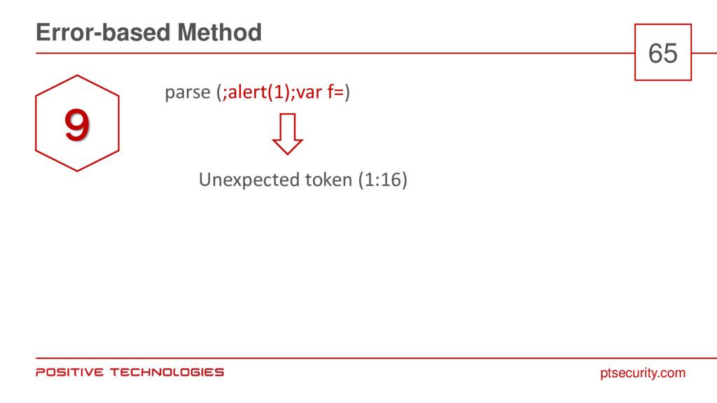 ptsecurity.com Error-based Method 65 parse (;al...