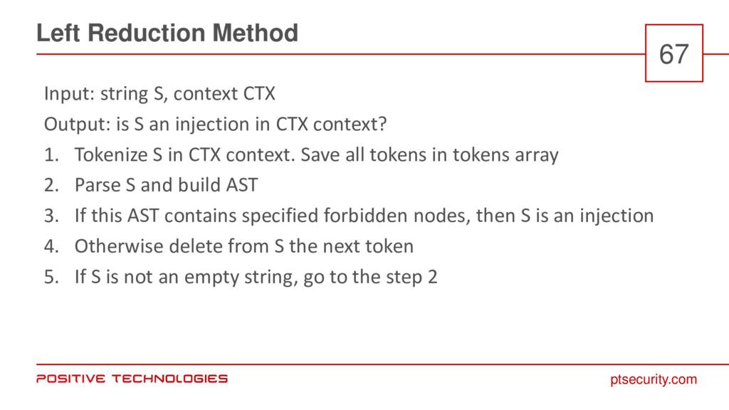 ptsecurity.com Left Reduction Method 67 Input: ...