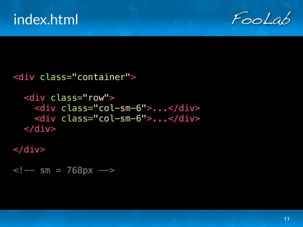 "index.html <div class=""container""> <div class=""..."