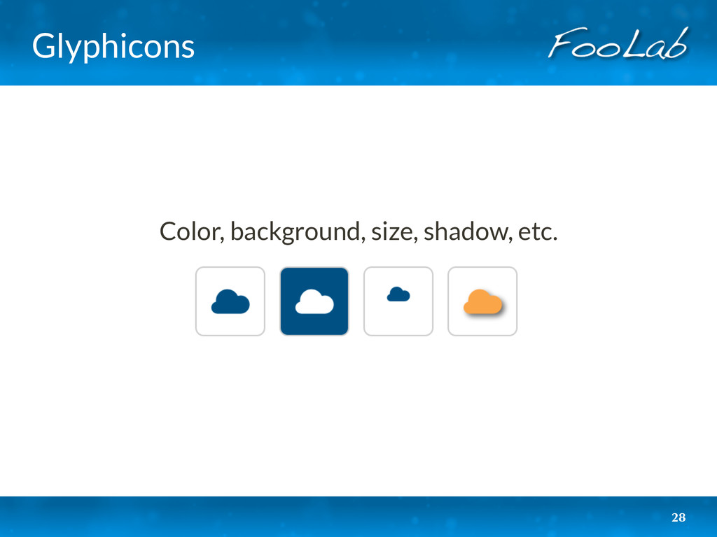 Glyphicons 28 Color, background, size, shadow, ...