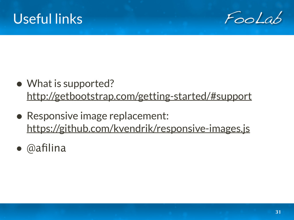 Useful links • What is supported?