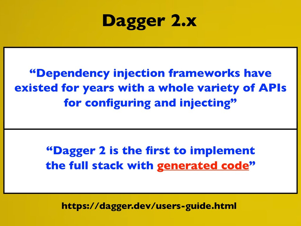 """Dagger 2 is the first to implement the full sta..."