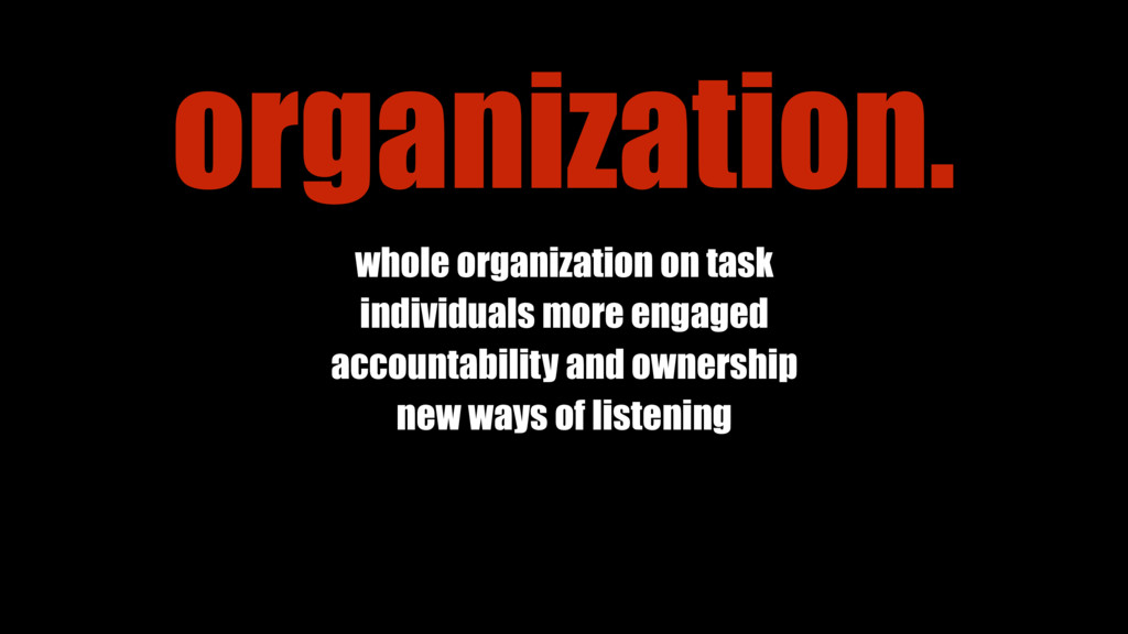 whole organization on task individuals more eng...