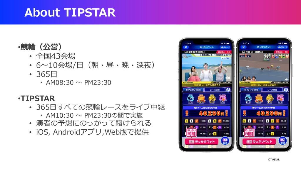 ©TIPSTAR About TIPSTAR •競輪(公営) • 全国43会場 • 6〜10会...