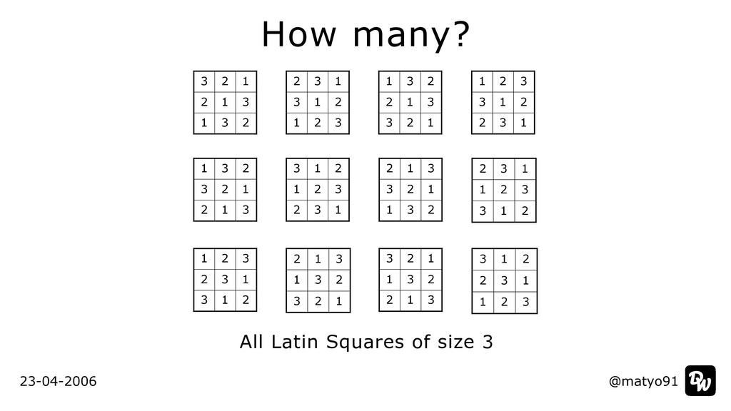 @matyo91 How many? All Latin Squares of size 3 ...