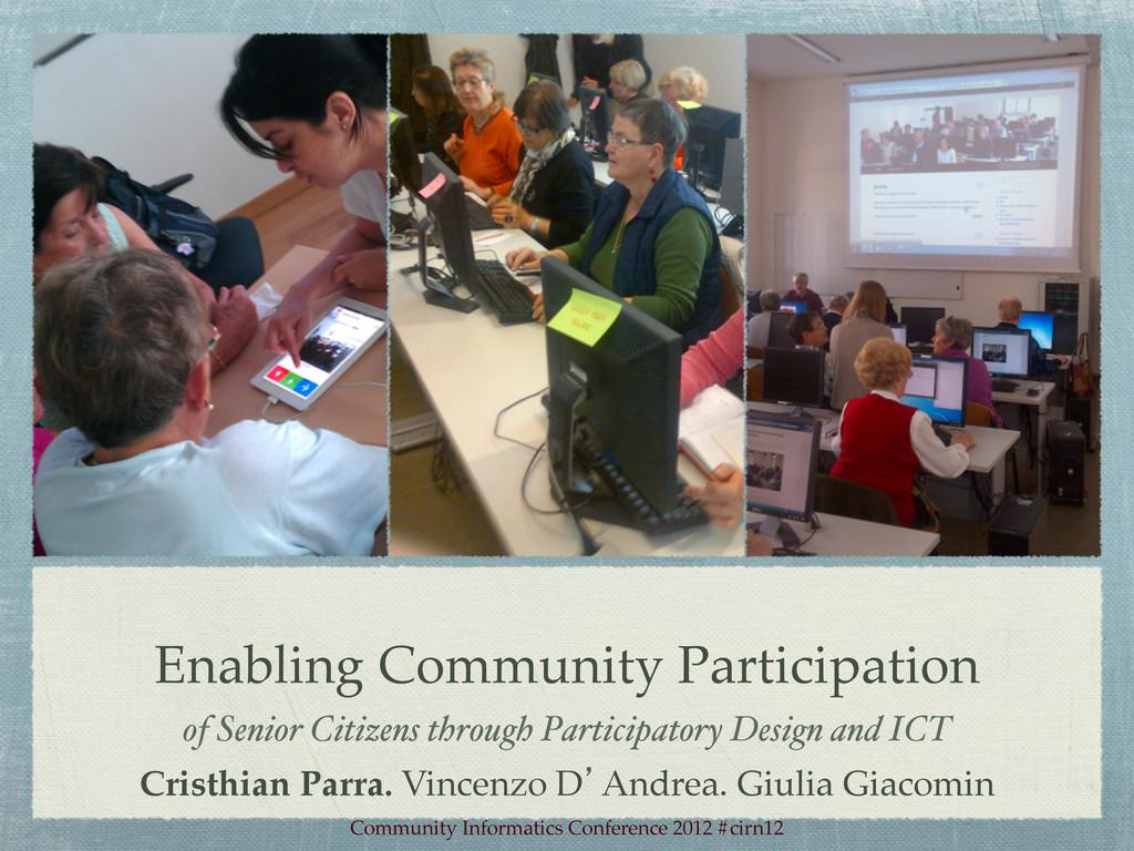 Enabling Community Participation! of Senior Cit...