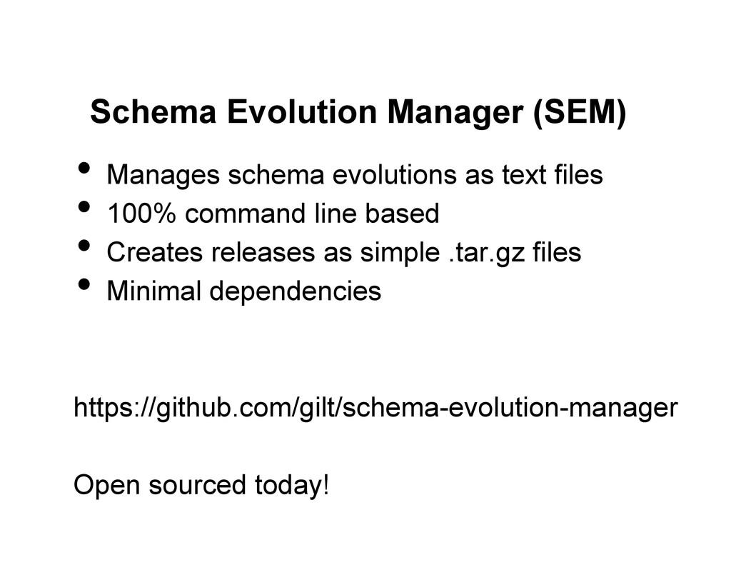 Schema Evolution Manager (SEM) • Manages schem...