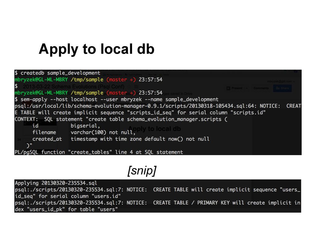 Apply to local db [snip]