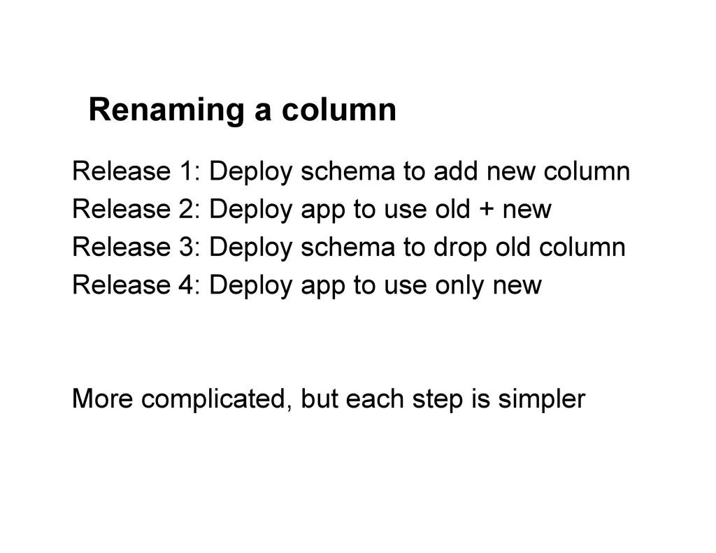 Renaming a column Release 1: Deploy schema to a...