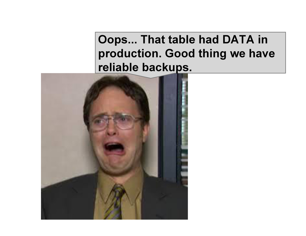 Oops... That table had DATA in production. Good...