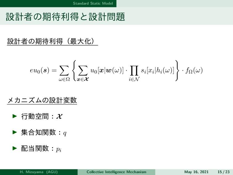 Standard Static Model 設計者の期待利得と設計問題 設計者の期待利得(最大...