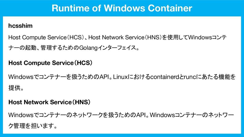 Runtime of Windows Container hcsshim Host Compu...