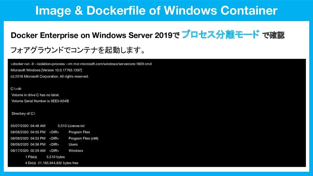 Image & Dockerfile of Windows Container Docker E...