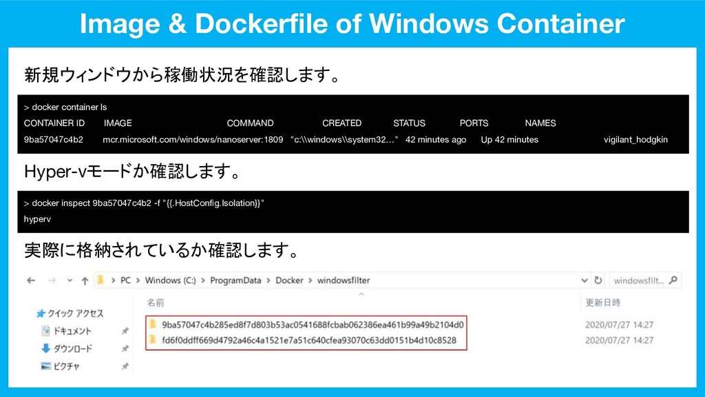 Image & Dockerfile of Windows Container > docker...