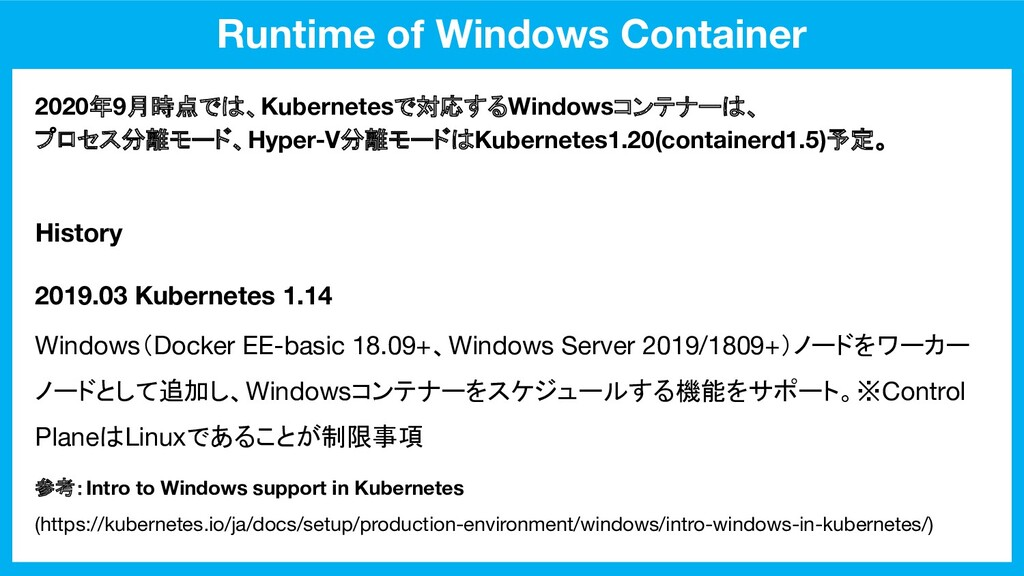 Runtime of Windows Container 2019.03 Kubernetes...