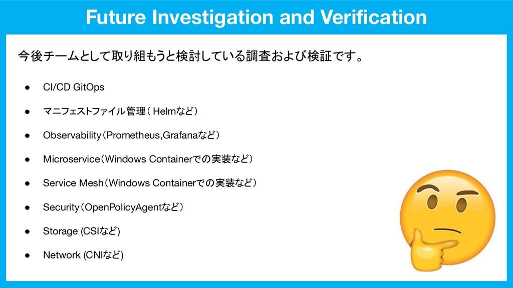 Future Investigation and Verification 今後チームとして取り...