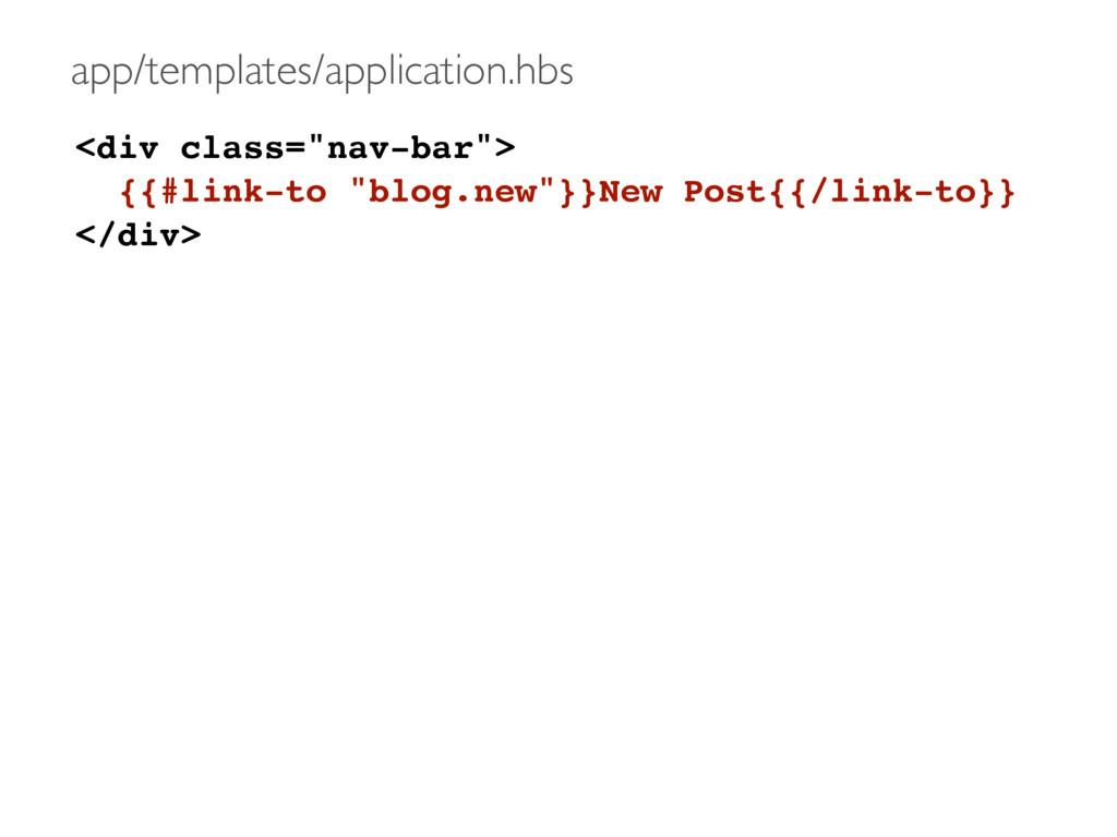 "<div class=""nav-bar""> {{#link-to ""blog.new""}}Ne..."