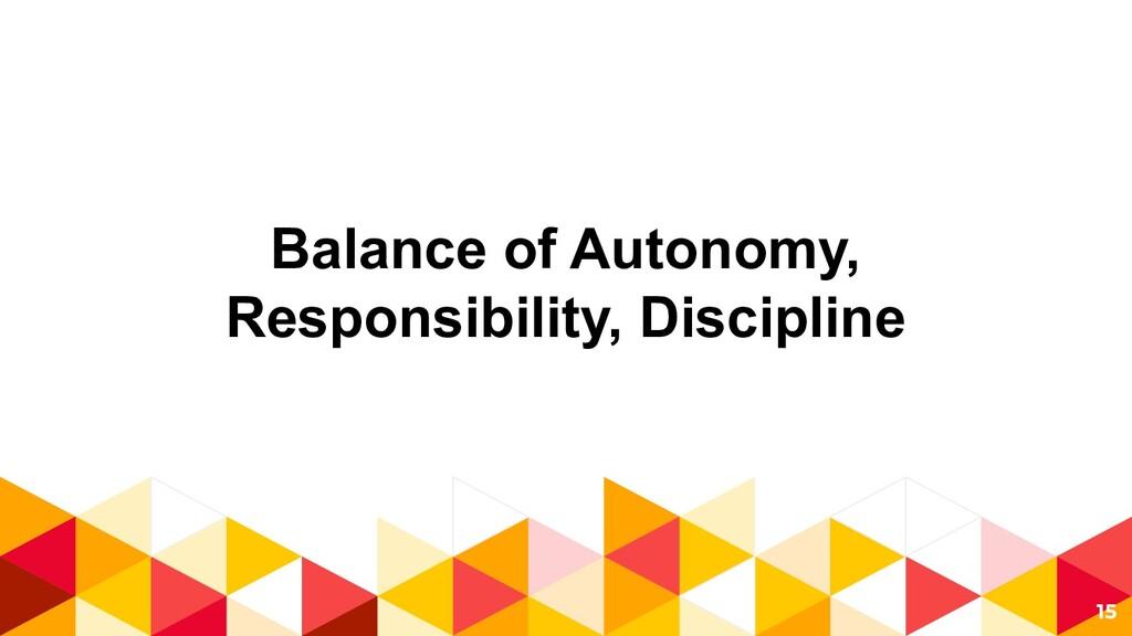 Balance of Autonomy, Responsibility, Discipline...