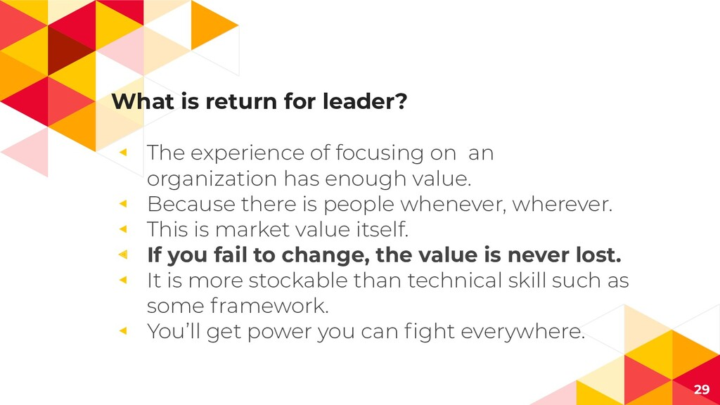 What is return for leader? ◂ The experience of ...