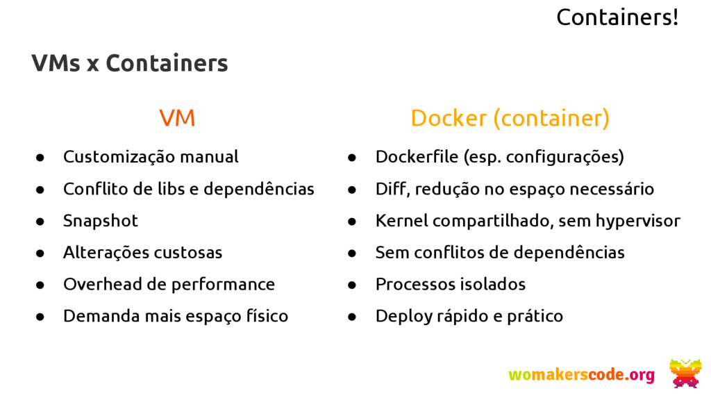 Containers! VMs x Containers womakerscode.org V...