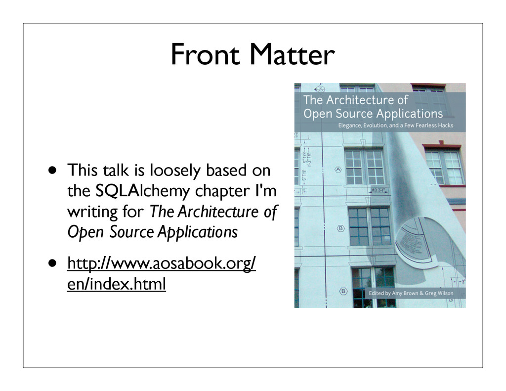Front Matter • This talk is loosely based on th...