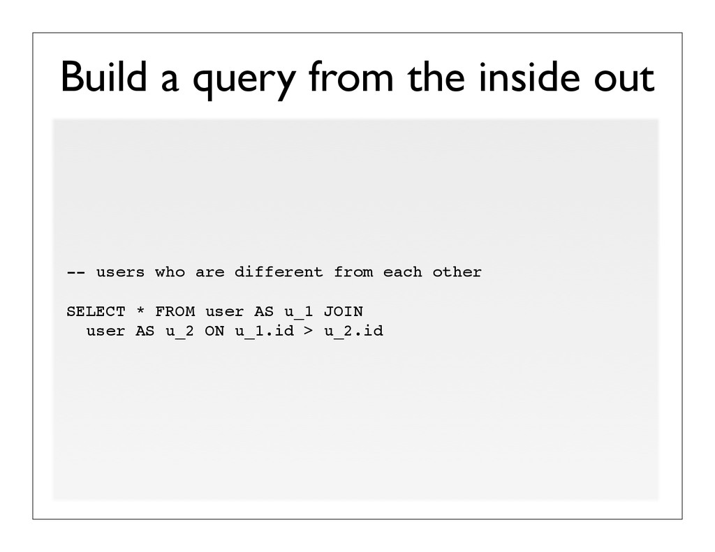 Build a query from the inside out -- users who ...