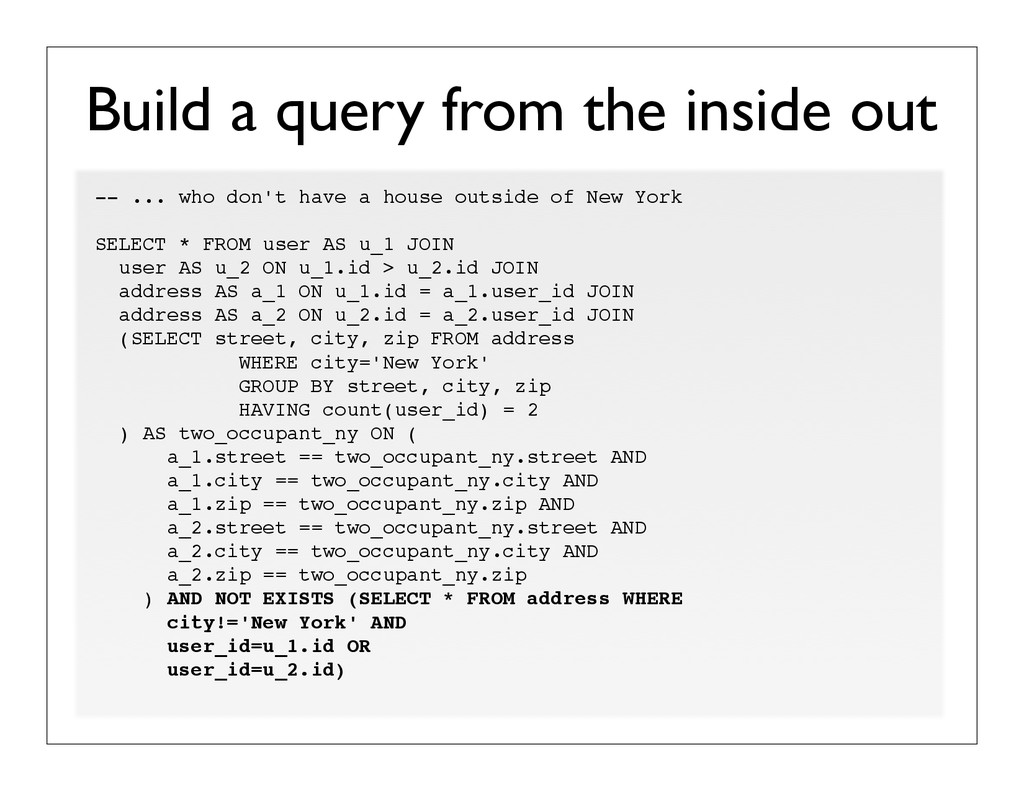 Build a query from the inside out -- ... who do...